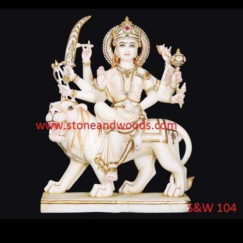 White Marble Durga Statue S&W 104