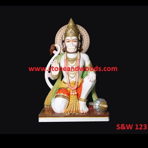 White Marble Hanuman Statue S&W 123