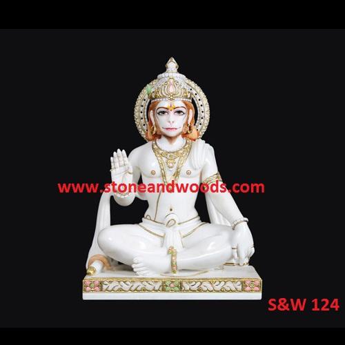 White Marble Hanuman Statue S&W 124