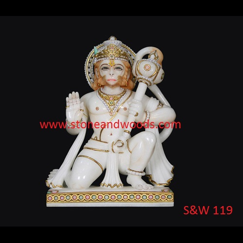 White Marble Hanuman Statue S&W 119