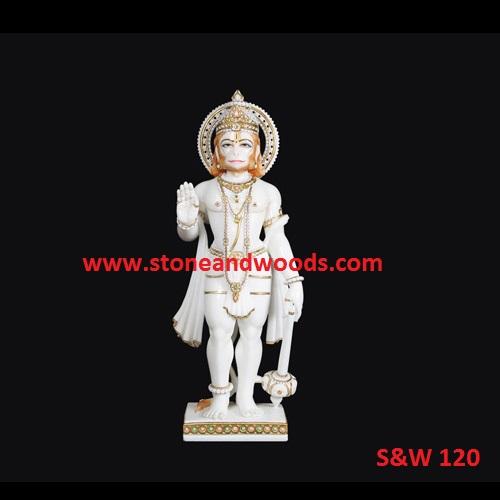 White Marble Hanuman Statue S&W 120