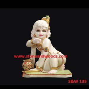 Marble Bal Gopal Krishna Statues S&W 135