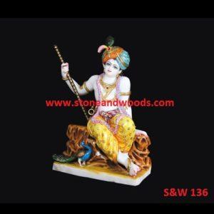 White Marble Krishna Idol S&W 136