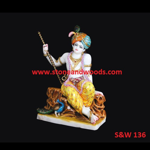 White Marble Krishna Idol S W 136 Stone And Woods