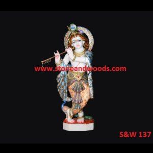 Marble Krishna Statue S&W 137