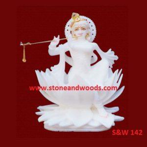 White Marble Krishna Idol S&W 142