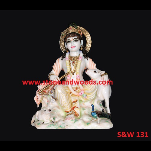 White Marble Krishna Idol S W 131 Stone And Woods