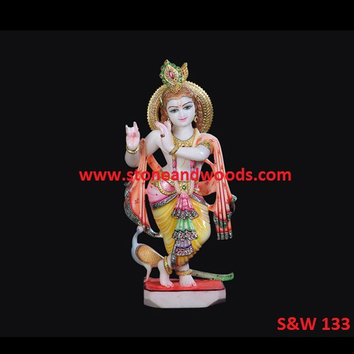 White Marble Krishna Idol S&W 133