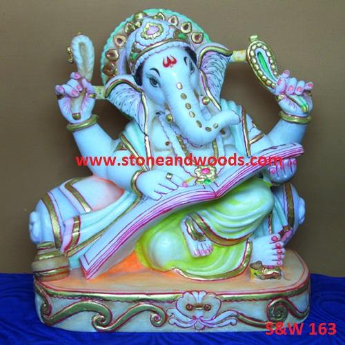 White Marble Ganesh Idol S W 163 Stone And Woods