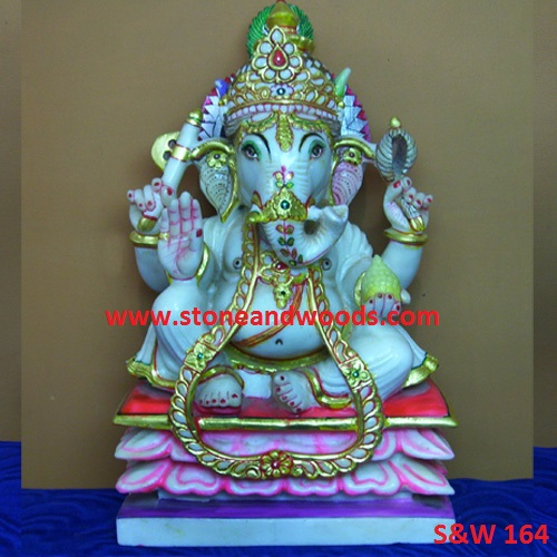 White Marble Ganesh Idol S&W 164