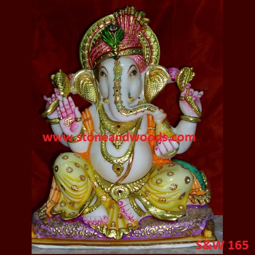 White Marble Ganesh Idol S&W 165