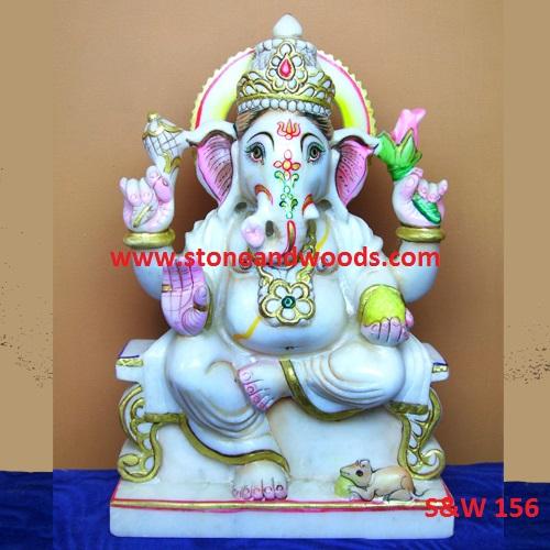 Marble Ganesh Statue S&W 156