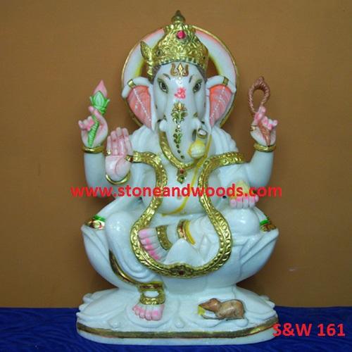 White Ganesh Statue S&W 161