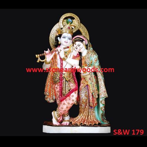 Marble Radha Krishna Statue S&W 179