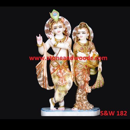 White Marble Radha Krishna Statue S&W 182