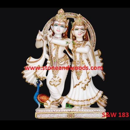 White Marble Radha Krishna Statue S&W 183