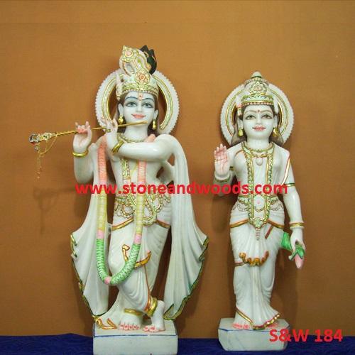 White Marble Radha Krishna Statue S&W 184