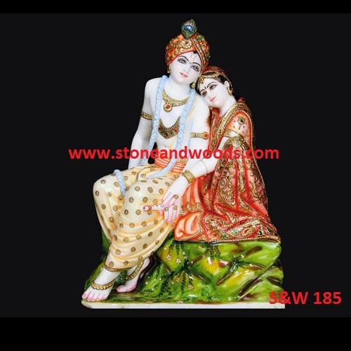 Marble Radha Krishna Statue S&W 185