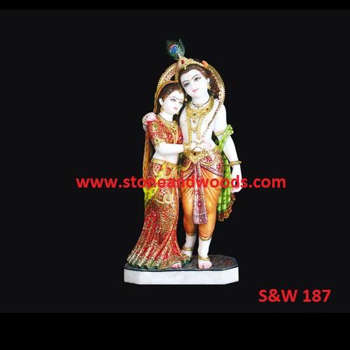 White Marble Radha Krishna Statue S&W 187