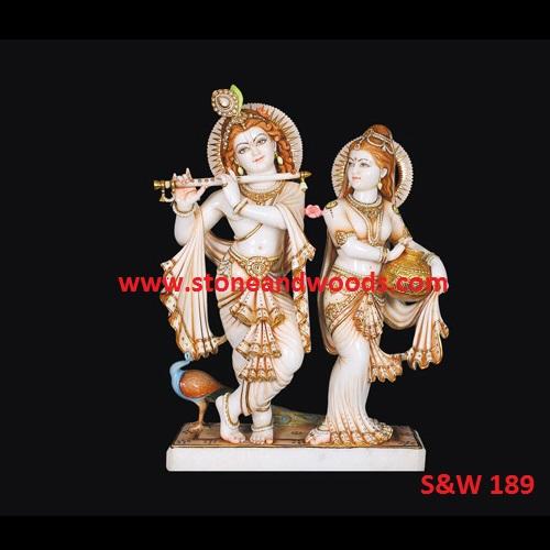 Marble Radha Krishna Idol S&W 189