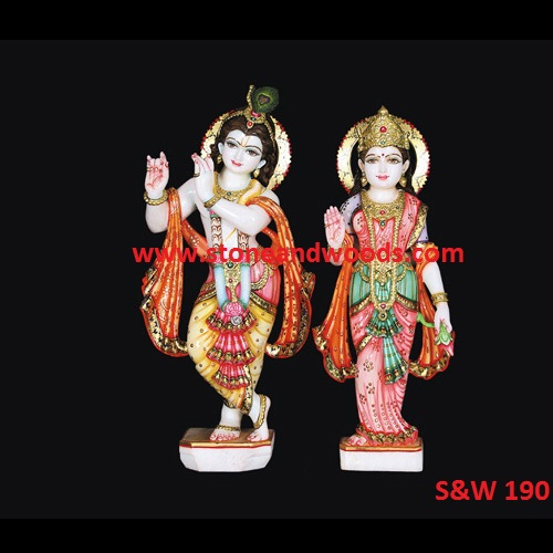 Marble Radha Krishna Idol S&W 190