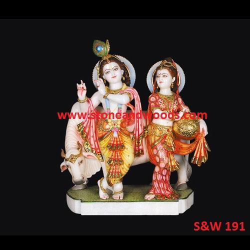 Marble Radha Krishna Idol S&W 191
