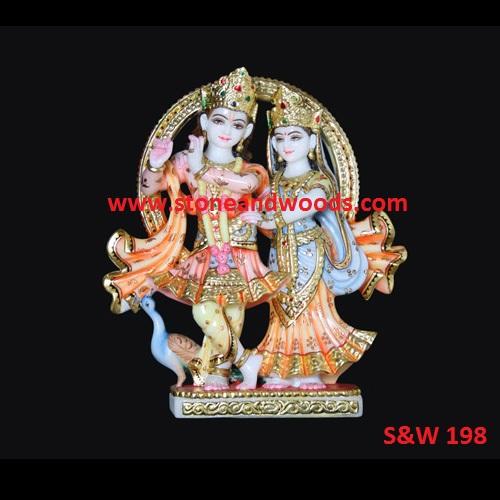 Marble Radha Krishna Statue S&W 198