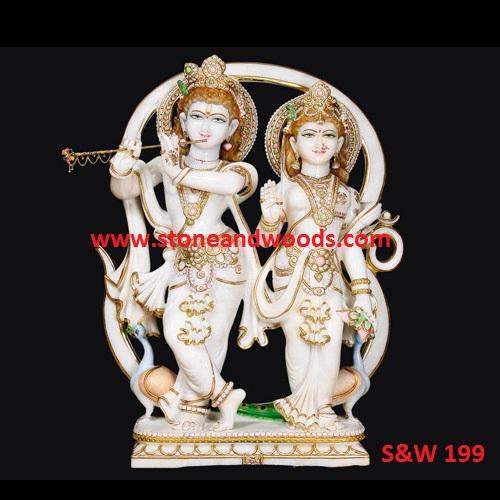 White Marble Radha Krishna Statue S&W 199
