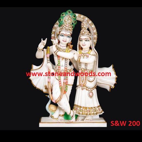 Marble Radha Krishna Idol S&W 200