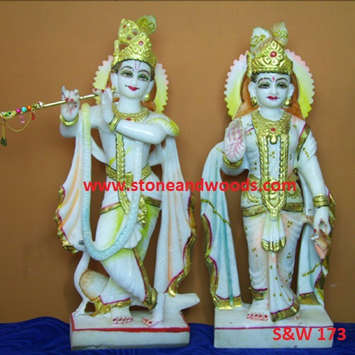 Marble Radha Krishna Statue S&W 173
