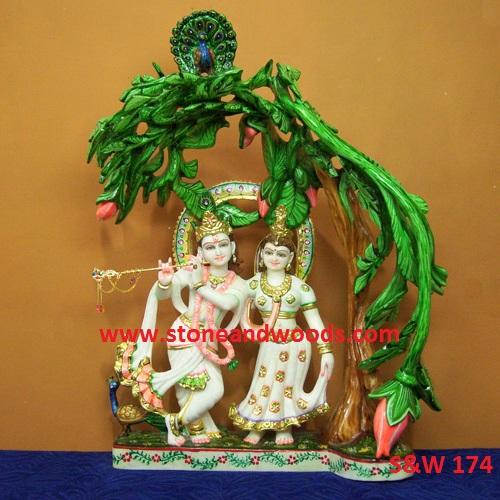 Marble Radha Krishna Statue S&W 174