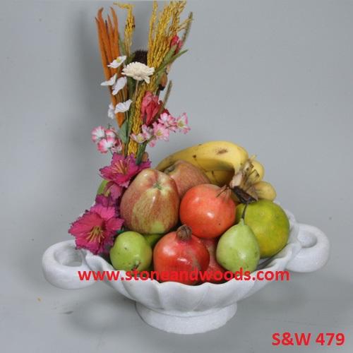 White Marble Fruit Bowl S&W 479