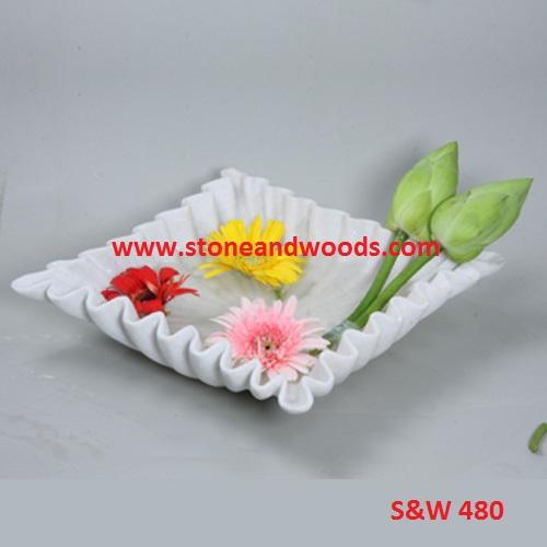 White Marble Decorative Bowl S&W 480