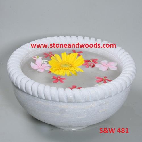 White Marble Decorative Bowl S&W 481