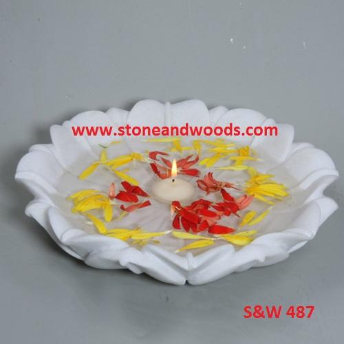 White Marble Decorative Bowl S&W 487