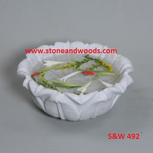 White Marble Decorative Bowl S&W 492