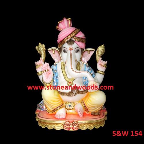 Marble Ganesh Statue S&W 154