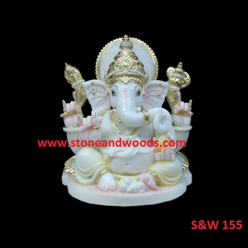 Marble Ganesh Statue S&W 155
